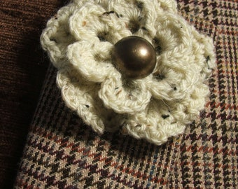 Cream Tweed Flower Brooch with Vintage Brass Button Centre