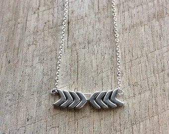 Silver Chevron Duo Necklace, Bar Necklace, Short Necklace, Chevron Necklace, Minimal Necklace, Modern Jewelry, FREE SHIPPING (U.S.)
