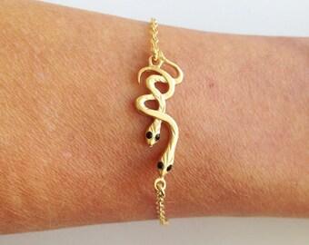 20% off-SALE!!! - Gold Snake Bracelet - Delicate Bracelet - Simple Bracelet - Dainty Bracelet - Gold Bracelet - Chain Bracelet