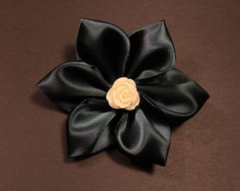 Girl's Hairbow, Hair Bow Flower with Cream Rose Center in Midnight Jade Satin