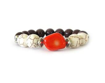 Women's Statement Bracelet, Women's Jewelry, Beaded Bracelet, Stretch Bracelet, Arm Candy, Gemstone Jewelry, Gifts for Her, W0726