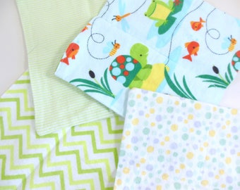 Cloth Wipes, Washcloths, Burp Cloths, Handkerchiefs in Frogs, Turtles, Chevron, Dots, & Stripe Prints Set of 12