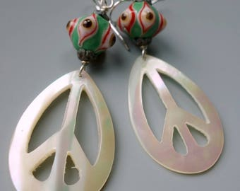 Vintage Carved Mother of Pearl Peace Sign Eye Earrings