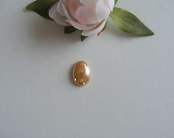 2 cabochon oval shape gold color iridescent porcelain plate