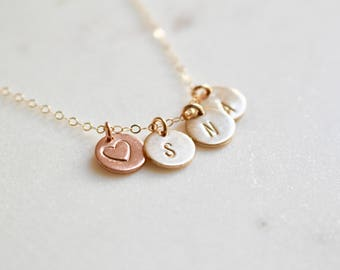 Kids Initials Necklace, Three Initials Monogram Necklace, Name Necklace, Gift for Mom Gift for Wife Gold Necklace Rose Gold Heart Charm