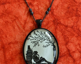 Silhouette Necklace, Pendant on Chain - AFTERNOON READING in the PARK - Art Jewelry