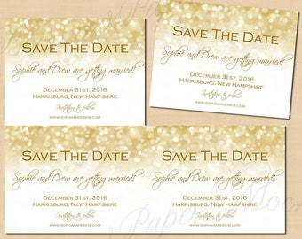 white gold sparkles save the dates 55x425 text editable