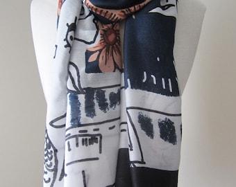 Dark blue scarf, Blue floral scarf, Long blue scarf, Women scarf handmade, Blue shawl wrap, Blue wrap