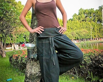 Fisherman pants, Thai fisherman pants, Black. Thai pants Amonchai. Yoga pants, Tai chi, Qigong, Massage pants.