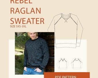 Men's raglan sweatshirt PDF sewing pattern sweatshirt PDF  pattern for Men|Mens PDF pattern raglan sweater|Adult apparel sewing pattern
