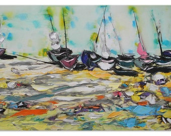 Sailing painting Unusual artwork Sandy beach Stylish painting seaside painting Ocean View narrow painting Beachscape yacht painting canvas