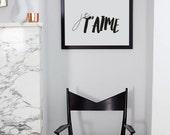 Je t'aime Français Mode devis impression murale impression noir et blanc - Design Minimal de Scandi