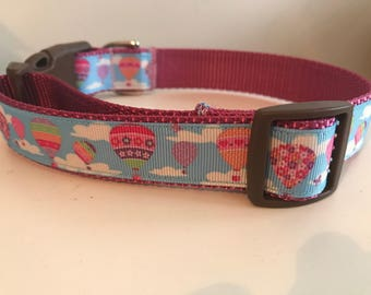 Pink Hot Air Balloons and Clouds 1 inch Large Dog Collar on Pink Nylon