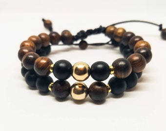14K Gold Filled Bead Bracelet with Matte Onyx and Wood Beads