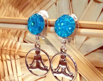 Yoga Aqua Clip Earrings