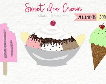 Painted Clip Art - Ice Cream Cone, Banana Split, Sundae, Popsicle, Sprinkle, Spoon, Dessert, Sweet, Glitter, Cherry, Hot Fudge, Twist, Swirl