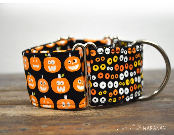 Martingale dog collar model Trick or Treat. Glow in the dark! Adjustable and handmade with 100% cotton fabric. Pumkin Wakakan