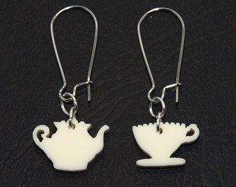 Tea Party Dangle Earrings, High Tea Earrings, Teapot and Teacup Earrings, Teapot Earrings, Teacup Earrings, Tea Jewelry, Mothers Day Gift