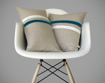 Striped Decorative Pillow Set | Teal and Cream | (12x20) and (16x16) by JillianReneDecor | Modern Home Decor | Minimal