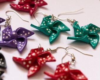 Cute Turquoise Shrink Plastic Pinwheel Earrings