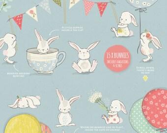 Spring Bunny Clipart Collection, bunny clip art, nursery wall art, baby announcements, spring floral wreath clipart, nursery decor