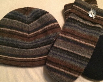 E15    Felted wool mittens and hat set   Size medium