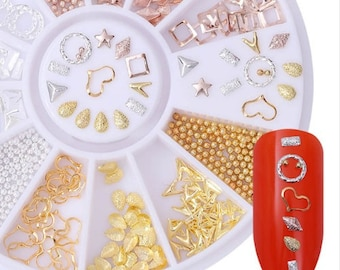 Gold And Silver Nail Studs 3D Nail Art Decoration Heart  Feather And Mixed Accessories For DIY