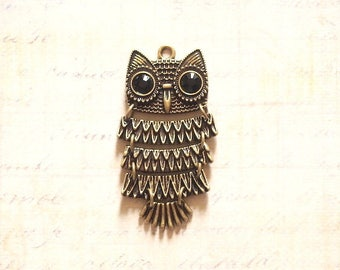 Great charm articulated OWL pendant in metal color bronze 49x26mm