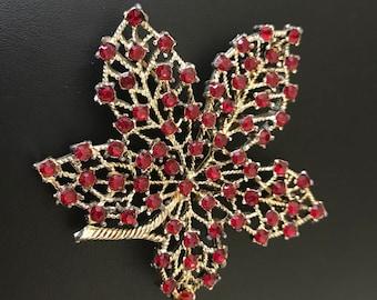Red Rhinestone Covered Maple Leaf Brooch