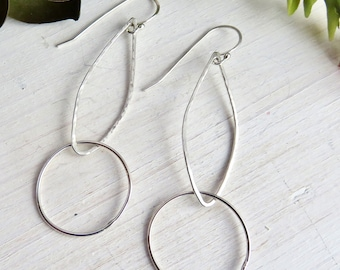 Sterling Hammered Hoop Earrings - Long Dangly Earrings - Sterling Double Hoop Earrings - Bohemian Earrings - Bridesmaid Gift Idea