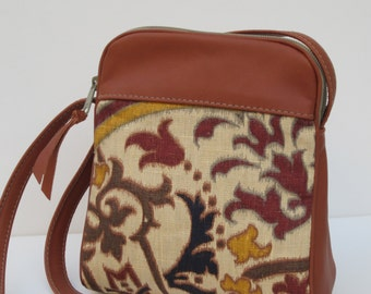 SMALL SHOULDER BAG by Elizabeth Z Mow Linen and Leather