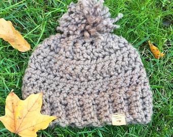 RTS Brown/Tan Chunky Crocheted Pom Pom Beanie
