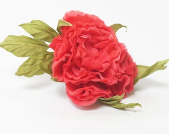 red silk rose hair accessories red flower red hair flower hair piece hair flowers red hair accessories wedding red wedding hair piece hat