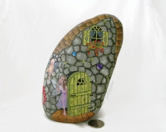 Painted rock, painted stone, fairy house, fairy door, lady bug, toad stools, damsel fly, garden decor, bumble bee, painted rock house, fairy
