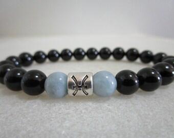 Pisces Bracelet for Pisces zodiac sign Bracelet of black Tourmaline and Aquamarine Bracelets for women Bracelets for men Zodiac jewelry