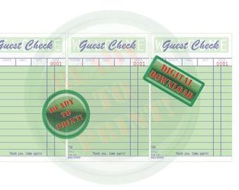 Three Guest Check Printable Set Diner Vintage Coffee Shop Style Digital Sheet Retro Kitchen Ephemera Set Blank Mint Green 1950s Note Card