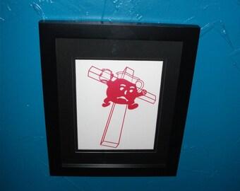 Kool-Aid Art Print : Hand Screen Print, koolaid man, punk, paper print, red, weird atheist art humor, gift, Halloween, Drink the Kool Aid
