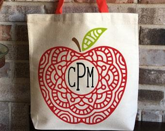 Monogram Personalized Teacher Bag - Apple Mandala - Teacher Appreciation - Back to School Teacher Gift - Large Tote Bag - Gift for Teacher