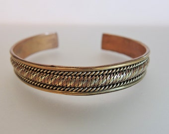 Vintage 1970's Brass Cuff Bracelet Woven Design
