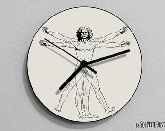 Vitruvian Man , Leonardo da Vinci, Anatomy, Leonardo Da Vinci Drawing, Da Vinci Illustration,  - Wall Clock