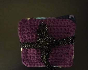 Purple And Light Blue And White And Purple Coasters