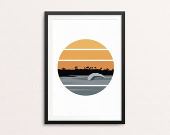 Newport Sunset // Print, Ocean, Sea, Surf, Surfer, Surf Art, Surfboard, Wave, Wave Art, Print, Landscape, Poster, Art, Wall Art, Home Decor.