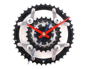 Bike Wall Clock, Unique Clock, Cyclist Gift, Silent Clock, Recycled Clock, Cycling Decor, Gear Clock, Sprocket Clock, Bicycle Clock