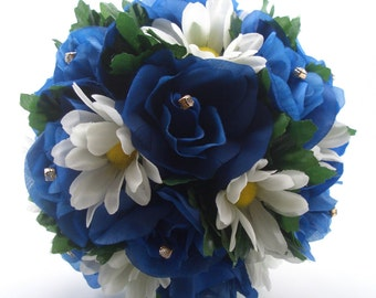 Blue Roses and White Daisies Bouquet, Bride Wedding Flowers, Rhinestone Accents