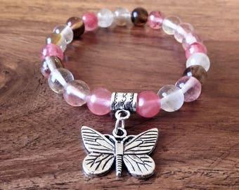 """Renaissance"" bracelet, cherry quartz 8mm, butterfly, about 18 cm Medal, Crystal healing"