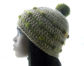 Upcycled Crochet Hat, Wool - Blend Beanie, Hat with Bobbles and Pom-Pom, Women's Tweed Hat, Medium to Large Size