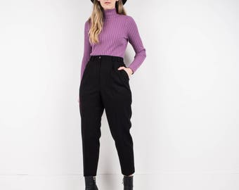 VINTAGE BLACK WOOL tapered trousers / S M / hipster pants festival trousers boyfriend tapered pants menswear inspired
