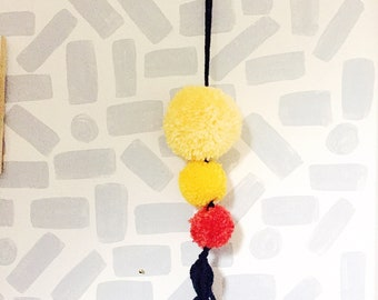 Pom pom tassle hanging, for doors/dressers/ gallery wall. Sunshine colours