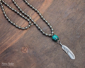 Feather pendant necklace Long boho necklace Turquoise pendant Western necklace Boho beaded necklace Cowgirl Western jewelry Festival