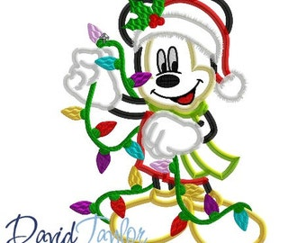 Christmas Lights Mickey - 4x4, 5x7, 6x10,  and 7x10 in 9 formats - Applique - Instant Download - David Taylor Digitizing